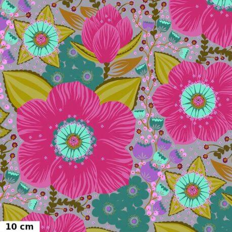 Tissu patchwork grandes fleurs roses Honorable mention - Hindsight d'Anna Maria Horner