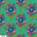 Tissu patchwork bouquet bleu et rose fond vert printemps - Hindsight d'Anna Maria Horner