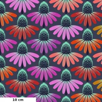 Tissu patchwork fleurs d'échinacées multico fond gris - Hindsight d'Anna Maria Horner