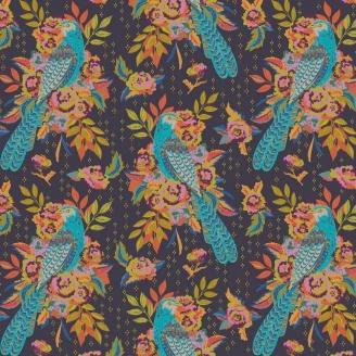 Tissu patchwork oiseau turquoise fond gris - New Vintage