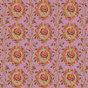 Tissu patchwork rose rouge en médaillon fond rose - New Vintage
