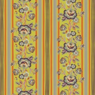 Tissu patchwork rayures et frises de fleurs fond vert anis - New Vintage