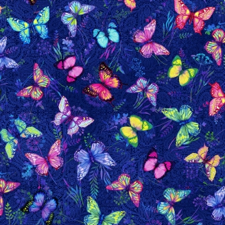 Tissu patchwork papillons roses et vert fond bleu marine - Butterfly Paradise