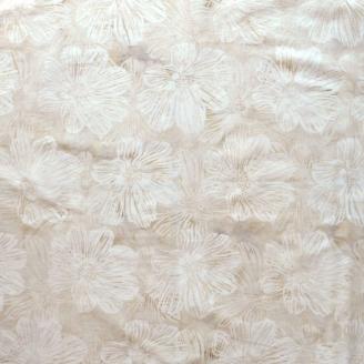 Tissu batik grandes fleurs écrues ton sur ton