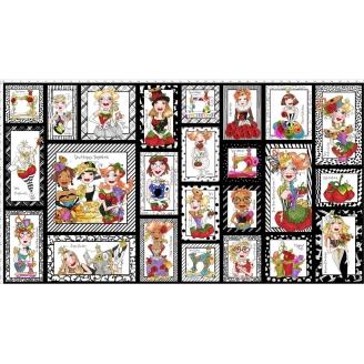 Panneau de tissu patchwork vignettes couturières fond noir - Sew Curious !