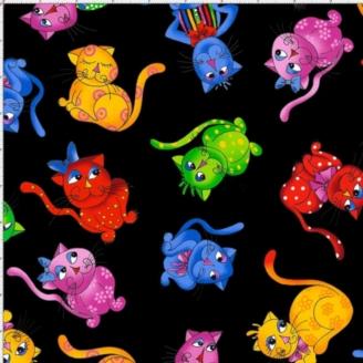 Tissu patchwork chats multicolores fond noir