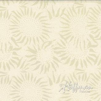 Tissu batik tournesols écrus