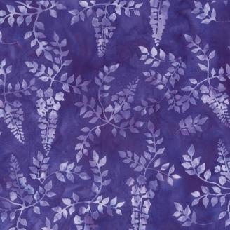 Tissu batik fleurs de lilas fond violet