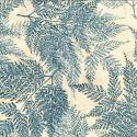Tissu batik grandes fougères grises fond écru