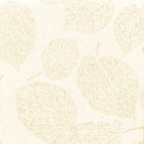 Tissu batik grande feuille écrue ton sur ton