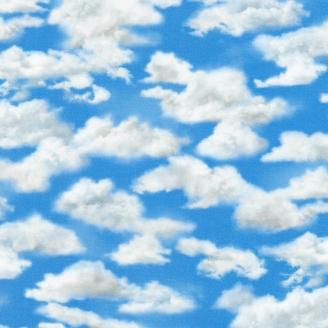 Tissu patchwork nuages éparses dans un ciel bleu