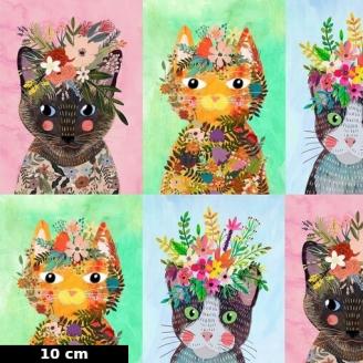 Tissu patchwork portraits de chats famille n°2 Floral pets (30 cm)