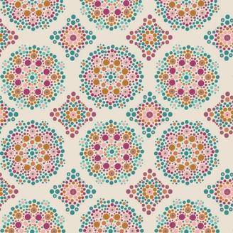 Tissu patchwork Mandala en pointillisme fond écru - Fusion Marrakesh