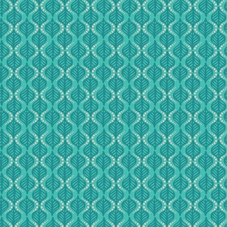 Tissu patchwork feuilles géométriques turquoises - Fusion Marrakesh