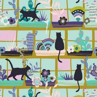 Tissu patchwork chats à la fenêtre - Oh, Meoh !