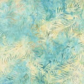 Tissu batik fougères fond bleu et jaune