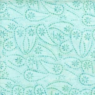 Tissu batik gouttes de fleurs turquoise givré