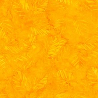 Tissu batik feuilles ton sur ton jaune d'or