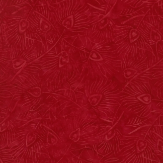 Tissu batik plumes de paon ton sur ton rouge passion