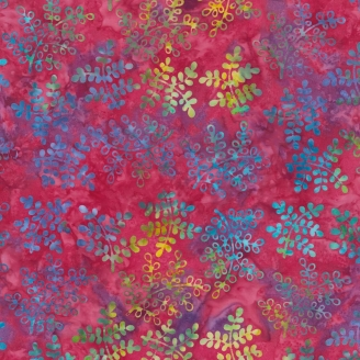 Tissu batik rameaux multicolores fond rose pivoine