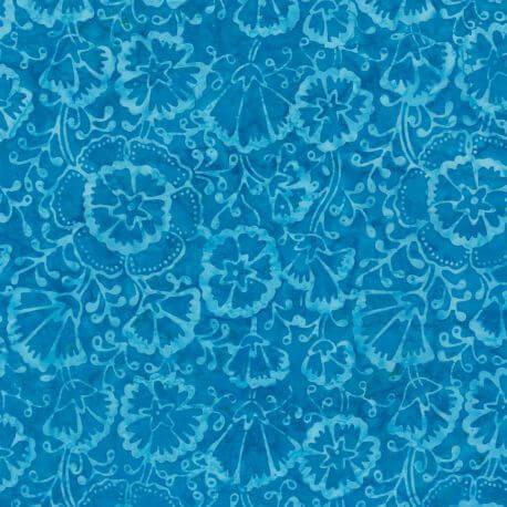 Tissu batik fleurs ton sur ton bleu