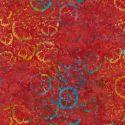 Tissu batik fleurs multicolores fond rouge