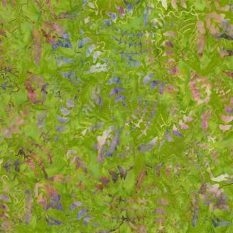 Tissu batik feuilles mauves fond vert avocat