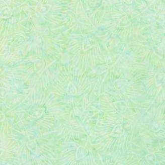 Tissu batik plumes de paon ton sur ton vert d'eau