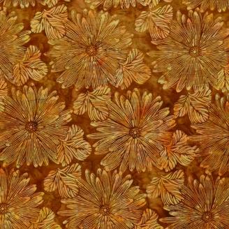 Tissu batik grandes fleurs orangées fond marron