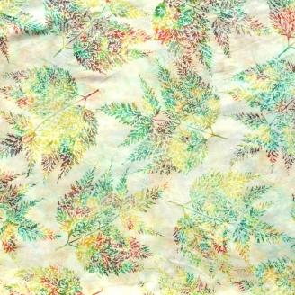 Tissu batik grandes fougères vert orange fond écru
