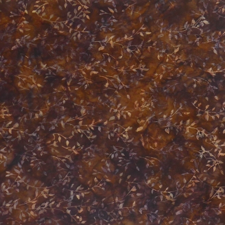 Tissu batik feuillage marron chocolat