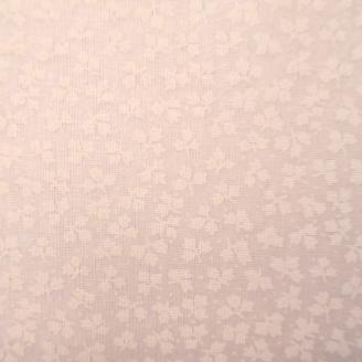 Tissu en grande largeur (270 cm) minis feuilles blanc sur blanc