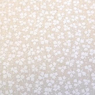 Tissu en grande largeur (270 cm) minis feuilles blanc sur écru
