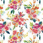 Tissu patchwork bouquets de roses multico fond écru - Garden Party