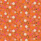 Tissu patchwork marguerites fond orange - Garden Party