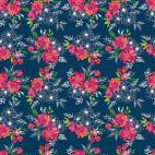 Tissu patchwork bouquets de fleurs roses fond bleu marine - Garden Party