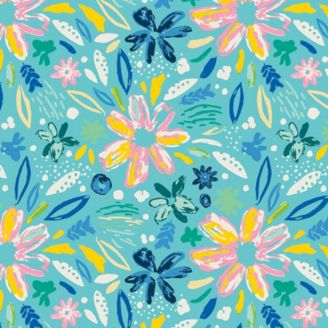 Tissu patchwork envolée de fleurs fond turquoise - Hello Sunshine
