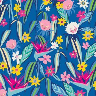 Tissu patchwork fleur oiseau du paradis fond bleu - Hello Sunshine