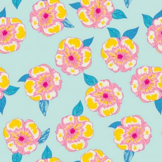Tissu patchwork fleurs roses fond turquoise clair - Hello Sunshine