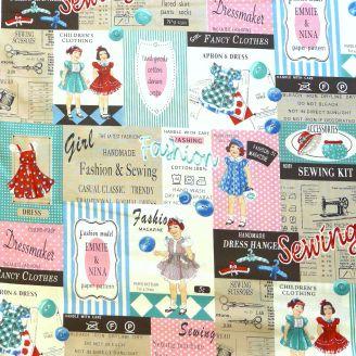 Tissu patchwork réclames de mode vintage