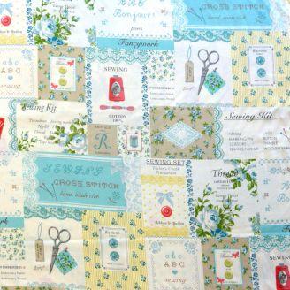 Tissu patchwork étiquettes de mercerie vintage