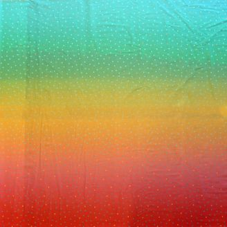 "Tissu patchwork dégradé vert rouge ""Rainbow"" - Gemstones"