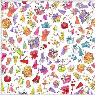 Tissu patchwork cadeaux et cotillons multicolores fond blanc - Party