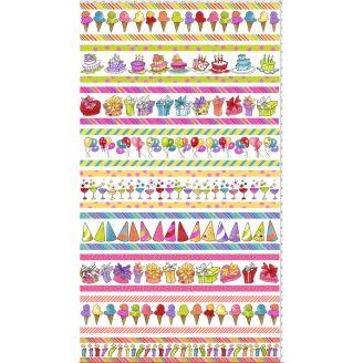Tissu patchwork bordures ballons, gâteaux, cadeaux et glaces - Party