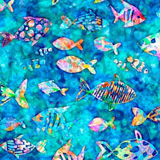 Tissu patchwork poissons tropicaux multicolores fond cyan foncé - Oceana