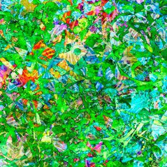 Tissu patchwork éclats vert vif - Illuminations