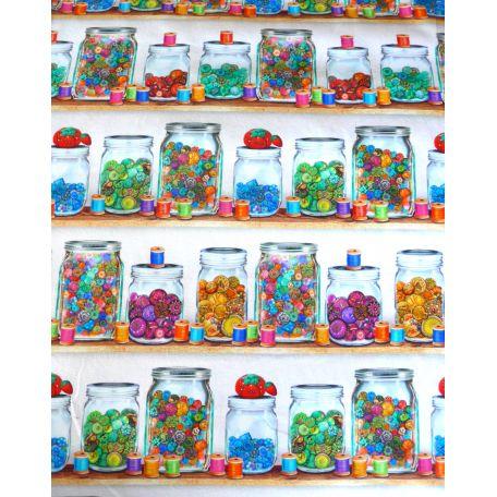 Tissu patchwork bobines et bocaux de boutons (46 cm x 110 cm)
