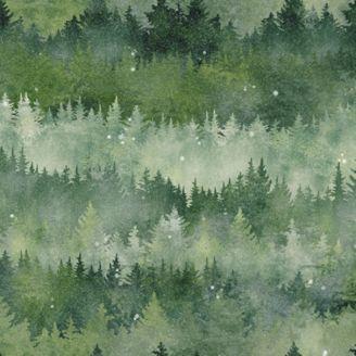 Tissu patchwork forêt de conifères - Painted Forest