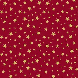 Tissu patchwork étoiles dorées fond rouge