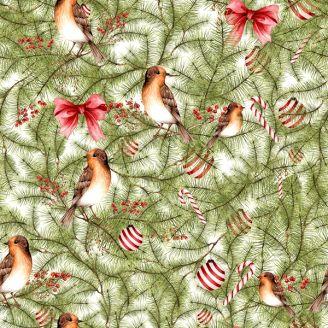 Tissu patchwork oiseaux et décorations dans le sapin
